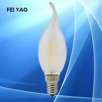 100 шт. затемнения 2 Вт 4 Вт 6 Вт светодиодный E14 E27 E12 лампы 220 В светодиодный свет свечи накаливания ретро Эдисон прозрачное стекло светодиодный