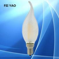 100PCS Dimmable 2W 4W 6W LED E14 E27 E12 bulb 220V LED Filament Candle light Retro Edison Clear glass LED Lamp Cold/Warm White