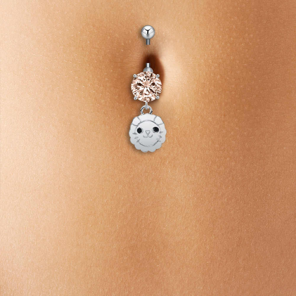 Qiamni Lucky Sunshine Cute Lion Face Animal Round Dangle Piercing Bar Navel Belly Button Barbell Ring Beach Body Jewelry Charm