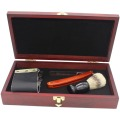 1+Razor +1 Brush +1 Strop Shaving Straight Razor Set Manual Classic Razors For Barber Red Wood Case Shaving Kits