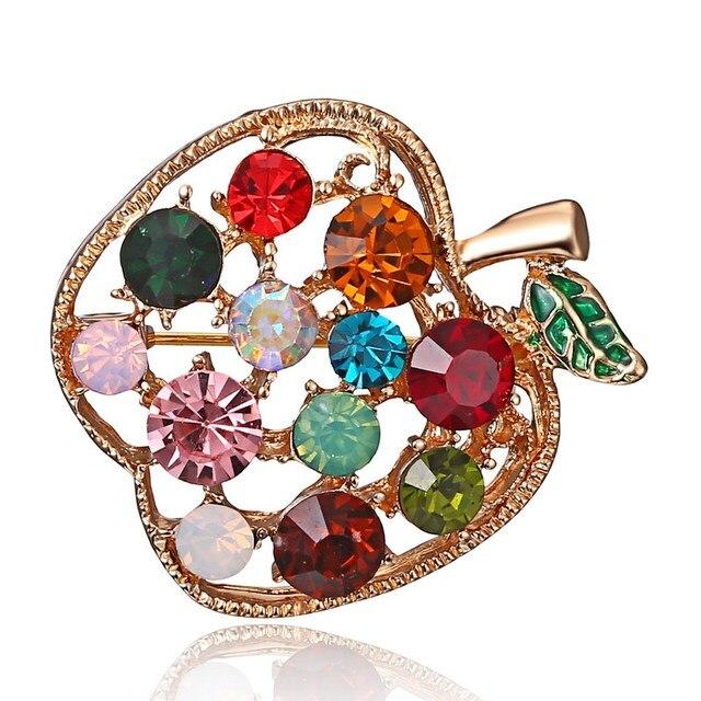 Full Rhinestone fruit Apple Brooches For Women Shinnig Summer Brooch Pin Dress Coat Hat Broches Luxury Bijouterie Jewelry