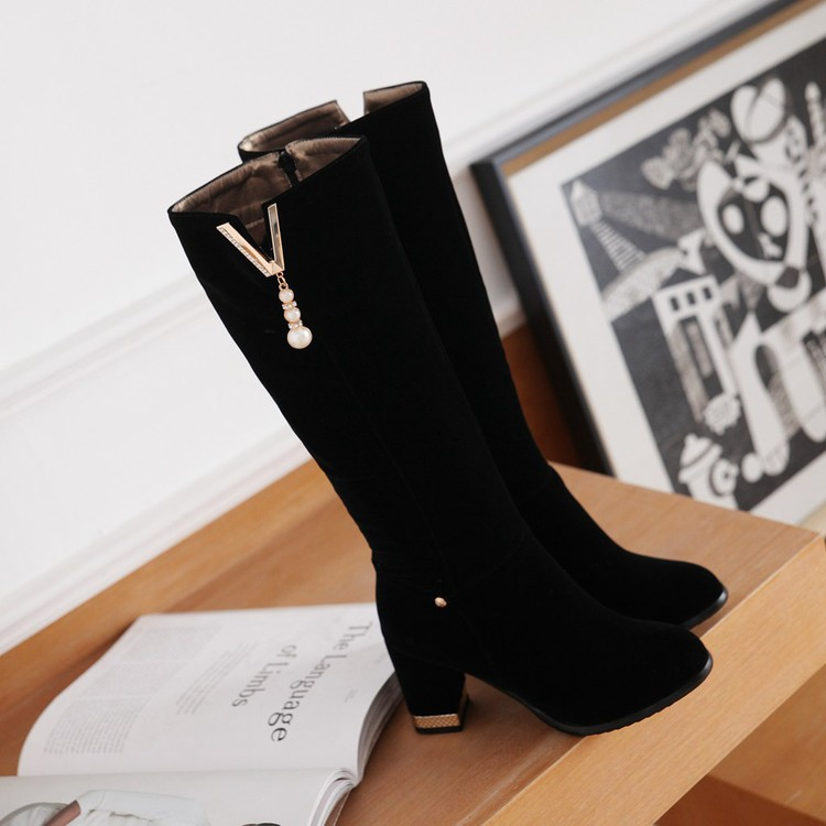 New Beaded Womens Large Size 40 High-heeled Suede Black Knee High Boots Autumn And Winter 7cm12