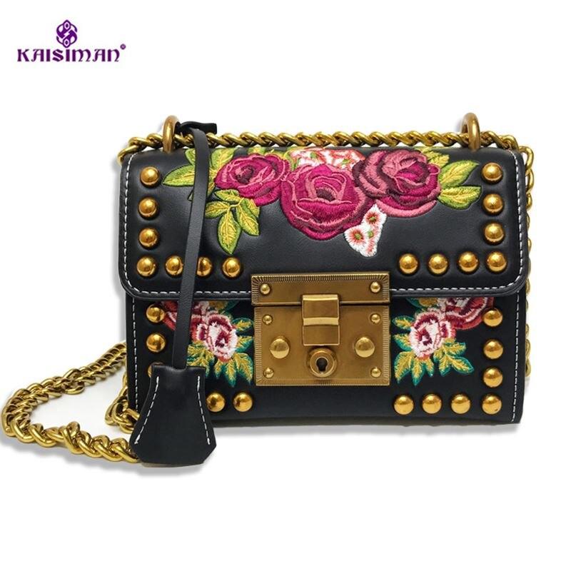 2018 Luxury Brand Women Rivet Embroidery Flowers Chain Leather Handbag Retro Lady Shoulder Bag Messenger Bag Black White Handbag