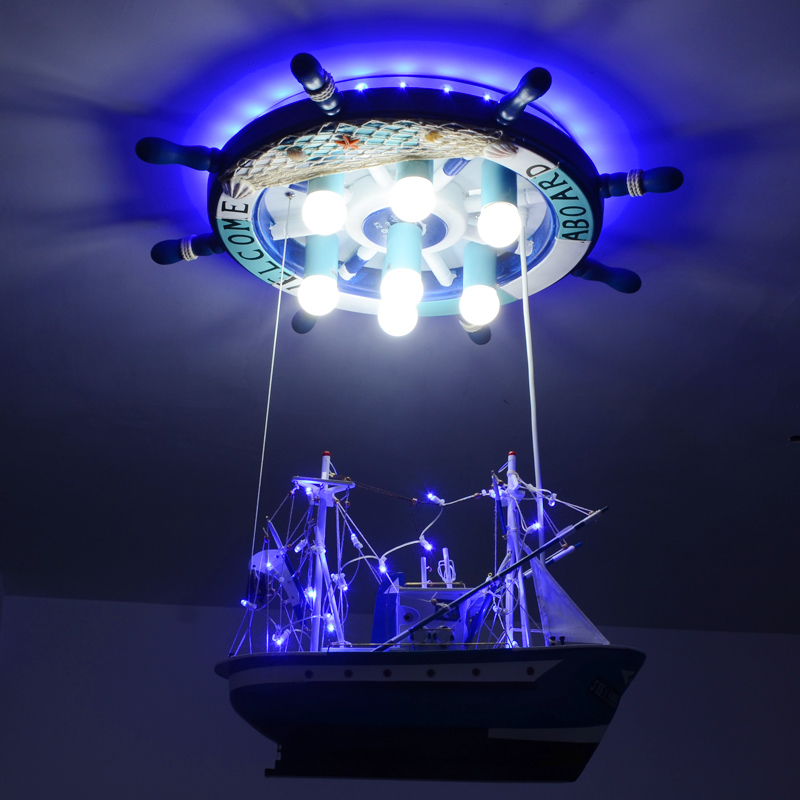 Us 338 56 8 Off Mediterranean Style Boat Led Pendant Lights Personality Children Room Boy Pirate Ship Blue Creative Lamps Za In