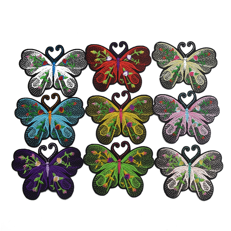 90pcs Butterfly Sew on Iron on Patch Dress Embroidered Appliques Craft Patches