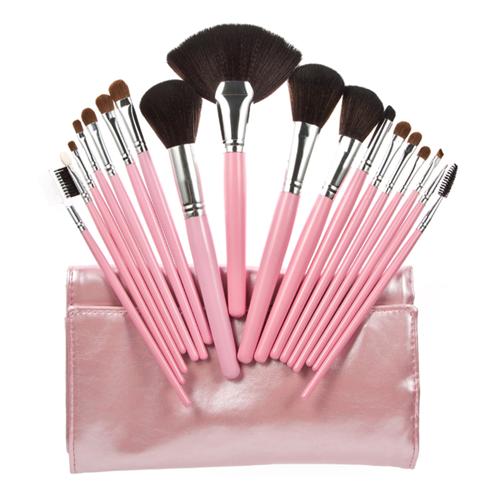 best deal hot dropshipping 12pcs cosmetic brush makeup brushes eyeshadow blush lip brushes sets kits tools for women beauty 18pcs Pink Beauty Makeup Brushes Kits For Women Make Up,Eye Face Lip Cosmetic Brush Beauty Tools Set + leather bag
