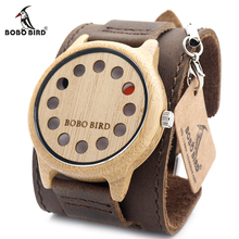 BOBO BIRD V A26 12 Holes Design Bamboo Wood Watch Mens Quartz Analog Watches Brown Leather