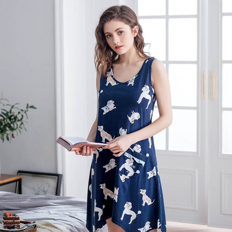 Qianxiu summer women irregular   nightgowns  &  sleepshirts   cartoon printing sexy sleeveless sleepwear women plus size nightdress