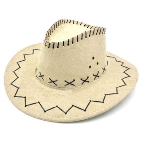Striped Cowboy Hats Suede Vintage Men Western With Wide Brim Cowgirl Jazz  Cap