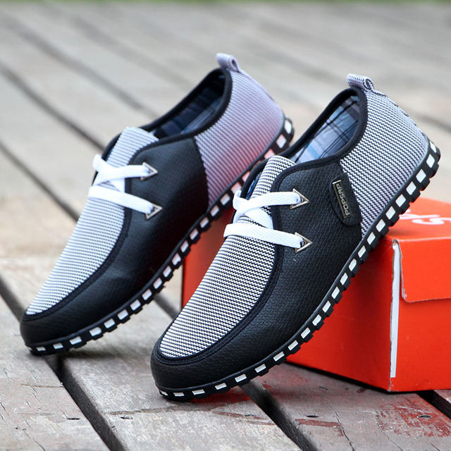 GOXPACER Spring Autumn Men Shoes Men Casual Shoes Breathable Flats Lacing Fashion Men Leather Shoes Plus Size Free Shipping