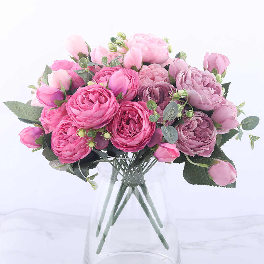 30cm Rose Pink Silk Peony Artificial Flowers Bouquet 5 Big Head And 4 Bud Cheap Fake Flowers For Home Wedding Decoration Indoor Aliexpress