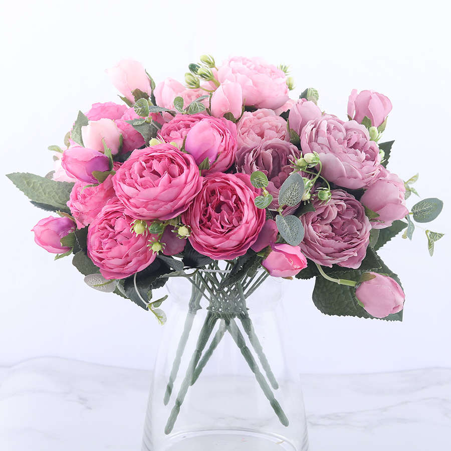 30cm Rose Pink Silk Peony Artificial Flowers Bouquet 5 Big Head and 4 Bud Cheap Fake Flowers for Home Wedding Decoration indoor(China)
