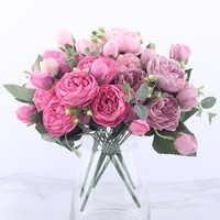 30cm Rose Rosa Seide Pfingstrose Künstliche Blumen Bouquet 5 Großen Kopf und 4 Knospe Günstige Gefälschte Blumen für Home hochzeit Dekoration innen