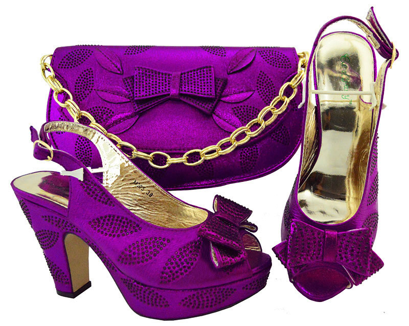 цена на Ladies Italian Leather Shoes and Bag Set Purple Italian Shoes with Matching Bags High Quality African Shoe and Bag Set for Party