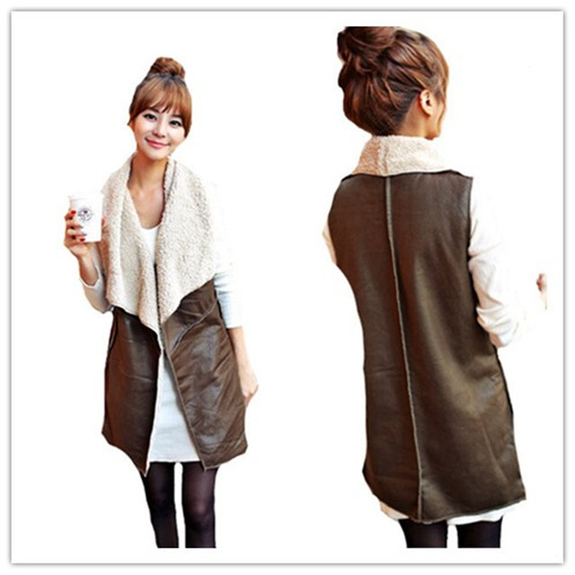 designer fashion dd3d5 f7e33 US $25.99 |Inverno donne colletto in pelliccia sintetica giacca giubbotto  marrone cuoio dell'unità di elaborazione biker cascata gilet lungo ...