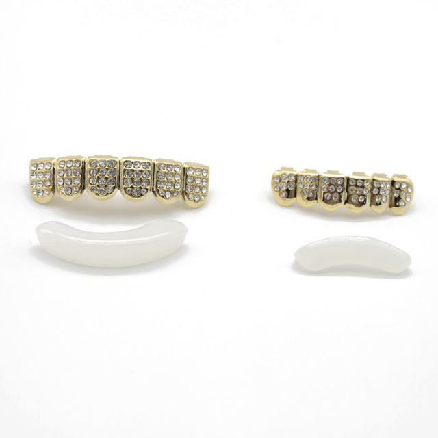 Hip Hop Gold Silver Iced Out CZ Teeth Grillz Top Bottom Bling Men Women Jewelry New 3