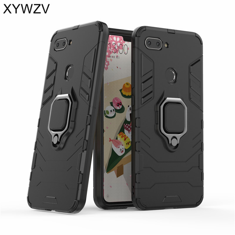 Armor Case Xiaomi Mi 8 Lite Cover Metal Finger Ring Holder For Magnetic Phone Youth 8X