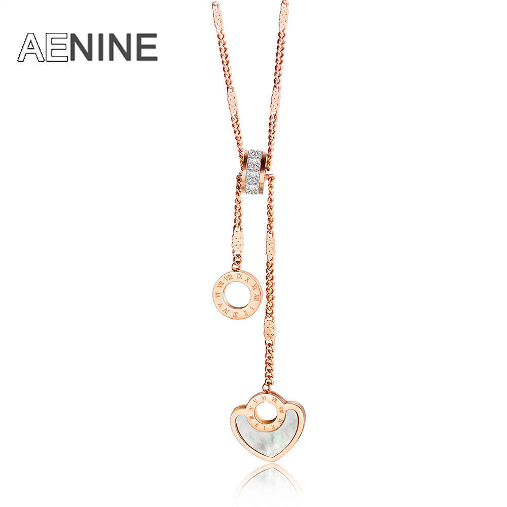 AENINE Roman Numeral Circle & Heart Stainless Steel Women Wedding Necklace Jewelry Fashion Lady Charm CZ Choker Necklace AN18286