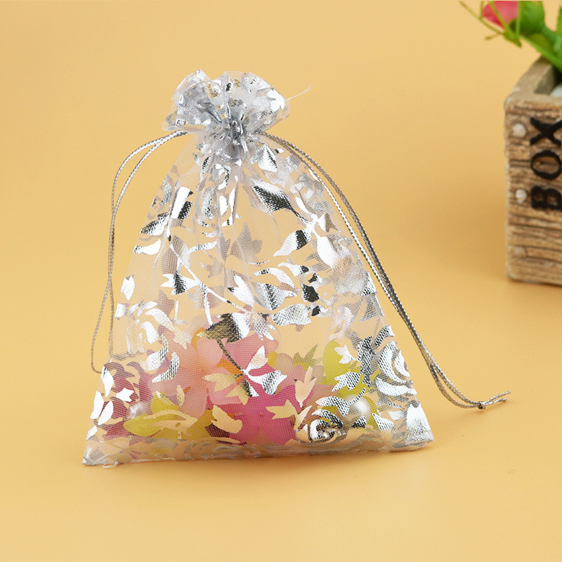 9x12cm White Jewelry Package With Silver Rose Print Drawstring Jewelry Bags Small Drawstring Pouches Organza Bags 500pcs/lot