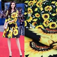 140X100 cm Fashion Week Geel Grote Zonnebloemen Wit Kleine Chrysanten Zwart Katoen Stof Meisje Vrouw Kleren Shirt DIY-AF218