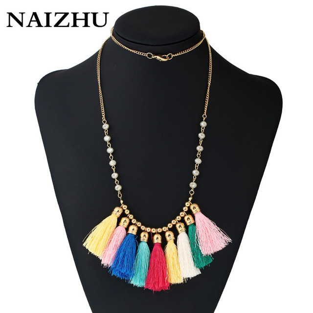 c20ce16b2048cc NAIZHU Statement Necklace Maxi colorful Strand Collier Women Necklaces  Vintage Crystal Bead Long Tassel Pendant Boho Jewelry