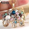 2015 Novo bonito de Cristal strass coloridos O elefante * colar de pingente de declaração para as mulheres jóias da moda