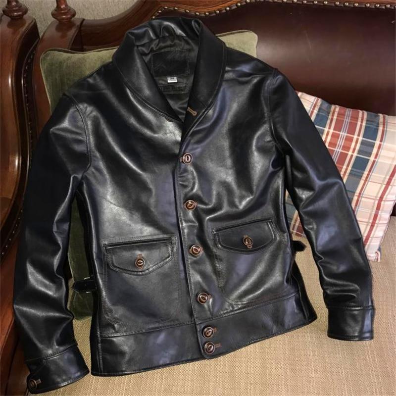 Leggere la Descrizione! Formato asiatico genuino degli uomini giacca di pelle moto sottile in pelle vintage cosacco giacca-in Giacche in vera pelle da Abbigliamento da uomo su  Gruppo 1