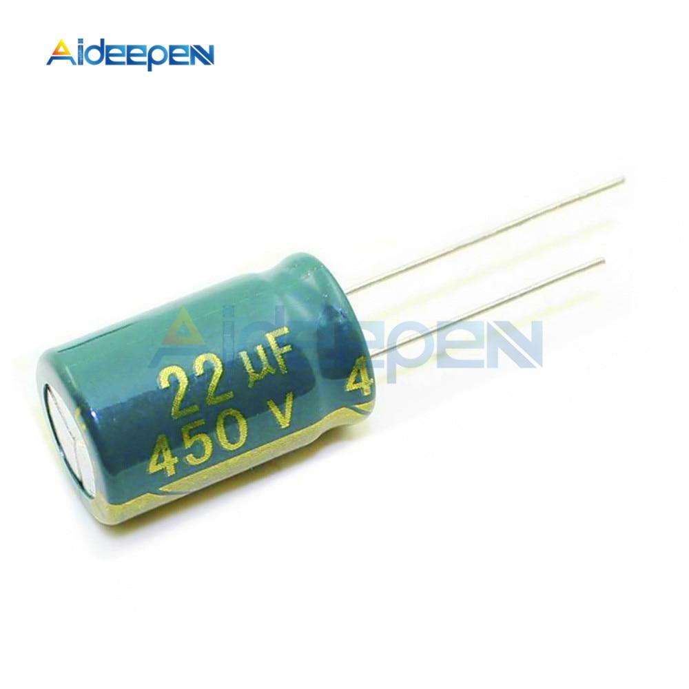 10 шт./упак. низкая Алюминий конденсатор с алюминиевой крышкой, 400 22уф мкФ 47 мкФ 68 мкФ 450 22уф мкФ 47 мкФ 100 мкФ 120 мкФ
