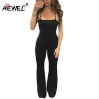 SEBOWEL Summer Halter Neck Women Long Jumpsuit Overalls Sexy Bodycon Cross Back Hollow Out Rompers Jumpsuits