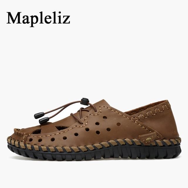 Mapleliz Brand Men Sandals Classics Handmade Genuine Cow Leather Retro Casual Summer Shoes Leisure High Quality Sandals for Men