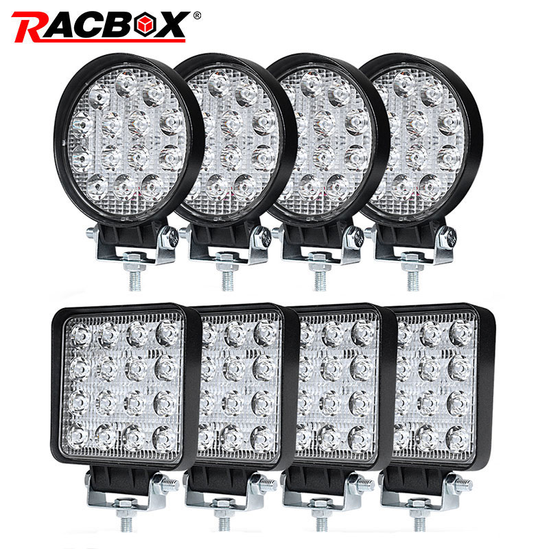 4 Inch 42 48W Offroad LED Work Light Spotlight Flood Spot Beam Drive Lamp for JEEP UAZ 4x4 Car 4WD Boat SUV ATV Truck Motorcycle 2pcs 12v 4d 3d 27w offroad led work light spotlight spot beam drive lamp for jeep uaz 4x4 car 4wd boat suv atv truck motorcycle
