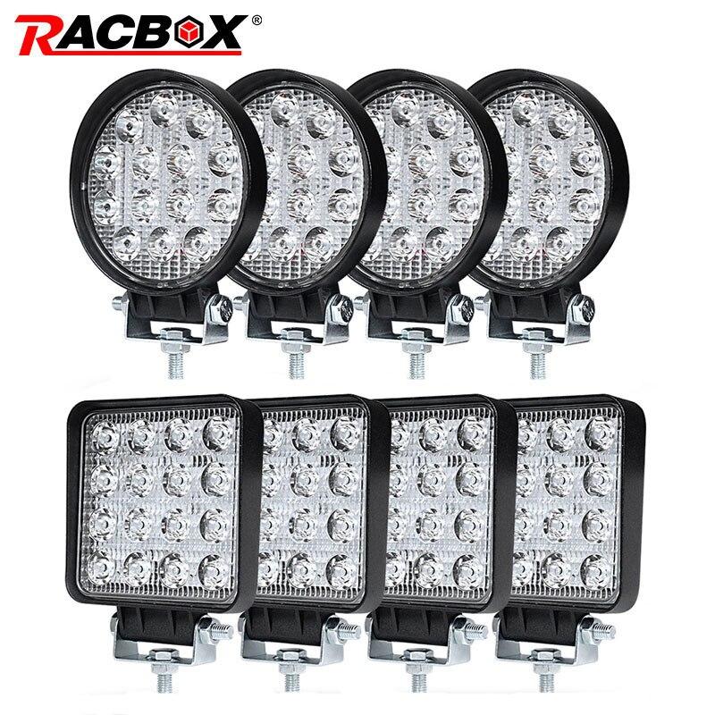 4 pulgadas 42 48 W Offroad LED foco de luz de inundación Spot Beam conducir lámpara para JEEP UAZ 4x4 4WD barco SUV ATV camión de la motocicleta
