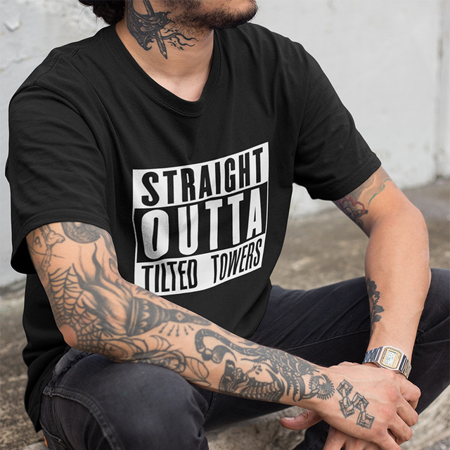 Straight Outta Tilted Towers T-shirt Fortnite Summer Short Sleeved Fashion Tee Shirt Hot Design 100% Cotton US Size Tops