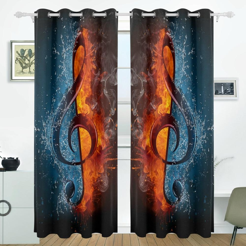 Water And Fire Musical Note Curtains Drapes Panels
