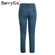 FREE SHIPPING 2018 Verticl Striped Blue Jeans JKP980