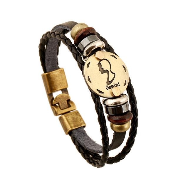 Zodiac Signs Pattern Leather Bracelets