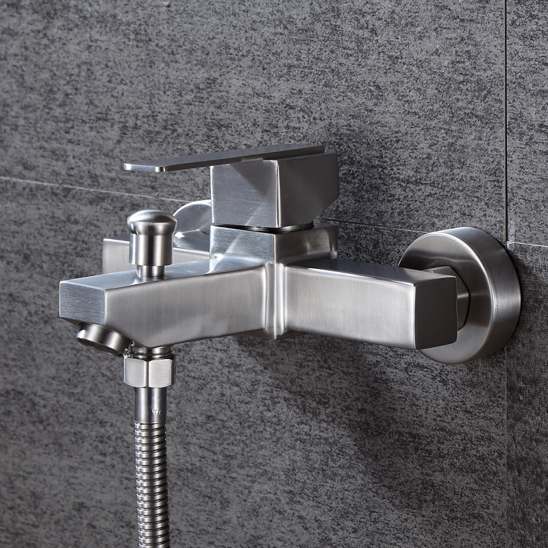 Bathroom Shower Faucets 304 Stainless Steel Bath Shower Mixers Double Outlets Hot Cold Mixer Tap Wall Mounted-in Shower Faucets from Home Improvement    1