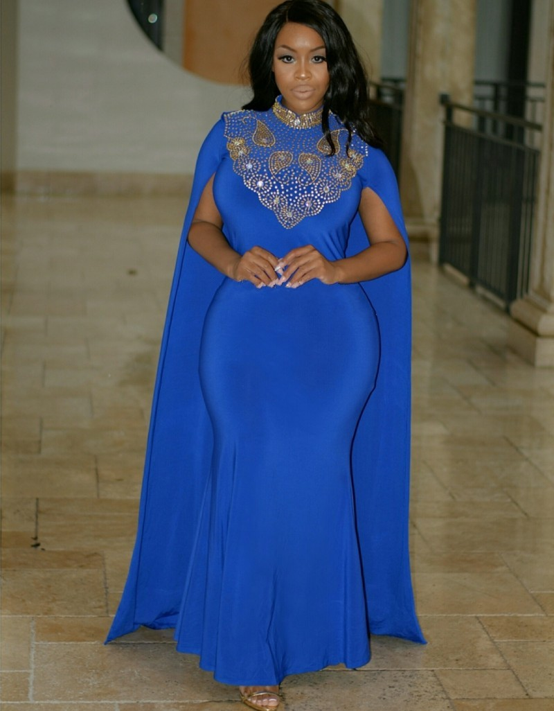 Plus Size Royal Blue and Gold Dress