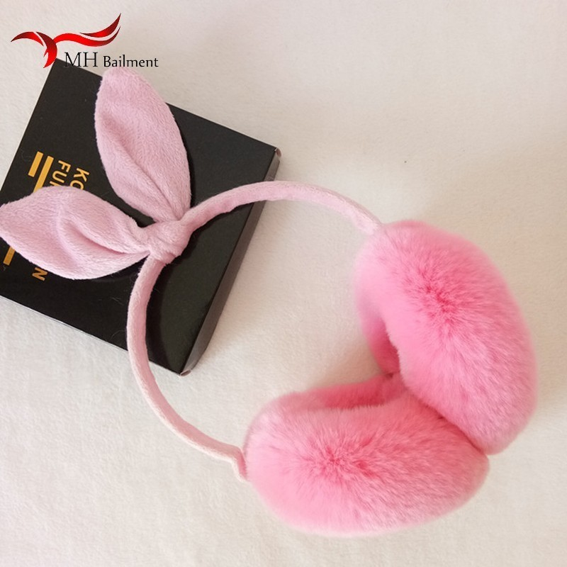Real Rex Rabbit Earmuffs Winter Outdoor Warm Fashion Comfort Protector Cute Men Women 100% Leather Fur Ear Muffs Rabbit Ears V1