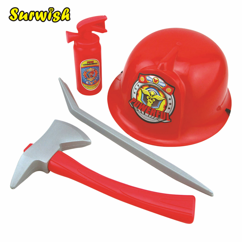 Fireman Costume Firefighter Role Play Boys Toy Hat Axe Crowbar Fire Extinguisher Set drone helipad