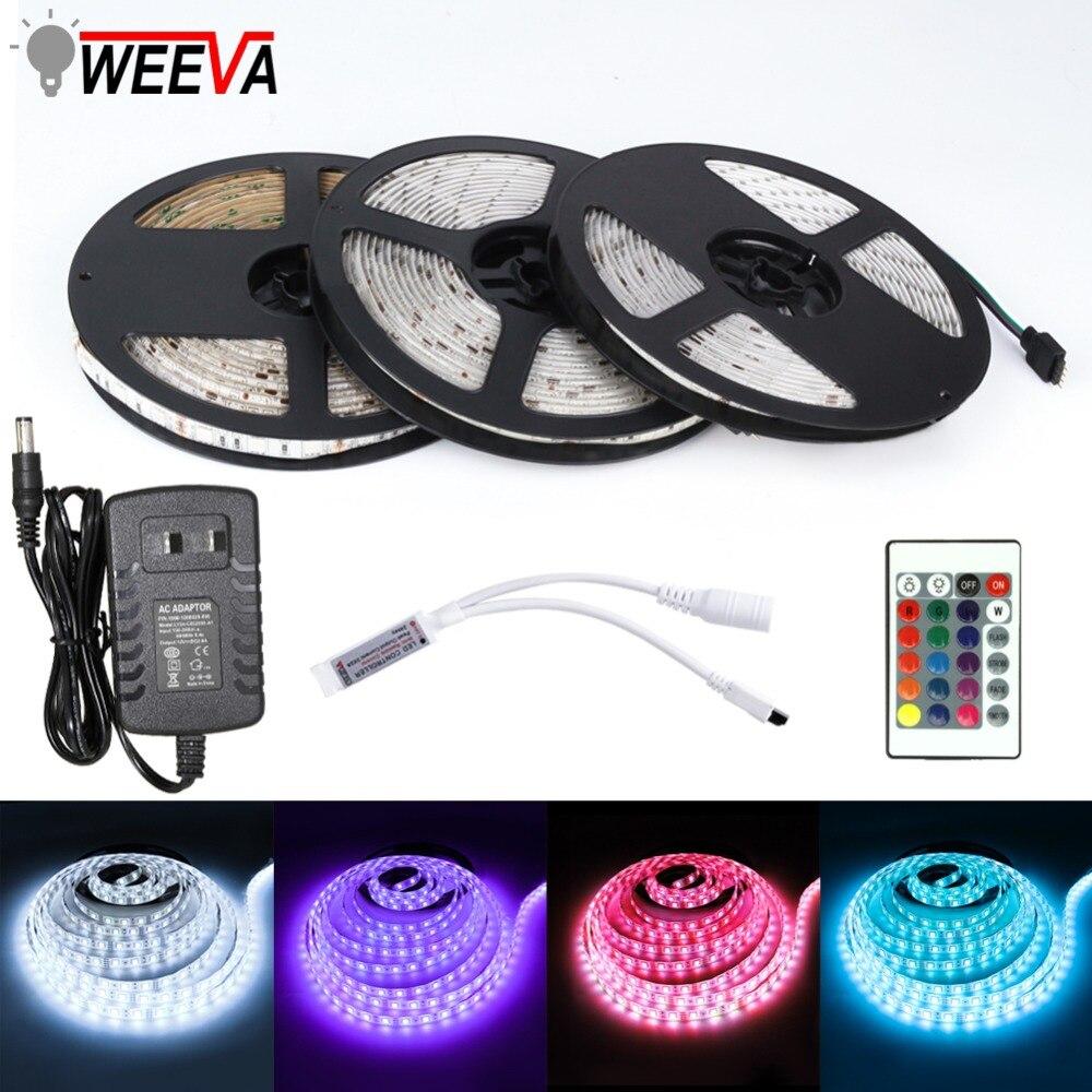 LED Strip Light DC 12V SMD 2835 5050 Flexible Diode Ribbon Tape RGB 5M 10M 15M 44Key Power Remote Full Set Waterproof Lighting