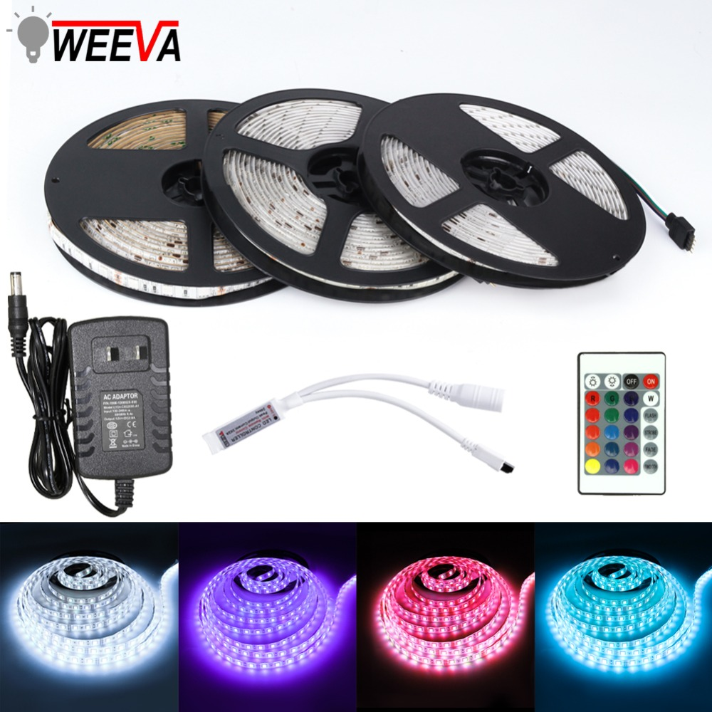 LED Strip Light DC 12V <font><b>SMD</b></font> <font><b>2835</b></font> 5050 Flexible Diode Ribbon Tape RGB 5M 10M 15M 44Key Power Remote Full Set Waterproof Lighting image