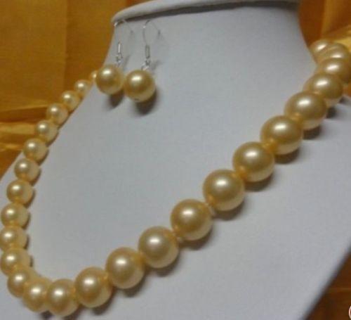 Горячая Бесплатная доставка 18'10 11 мм ААА идеальный южного моря Золотой жемчуг Ожерелье 14 К + БЕСПЛАТНО СЕРЬГИ набор (A0423)