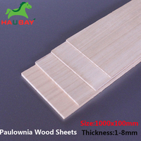 HAUBAY Paulownia Wood Sheet 1000x100x1/1.5/2/2.5/3/4/5/6/8mm 5pcs Wood Sheets for DIY Crafting 3.28 big promotion