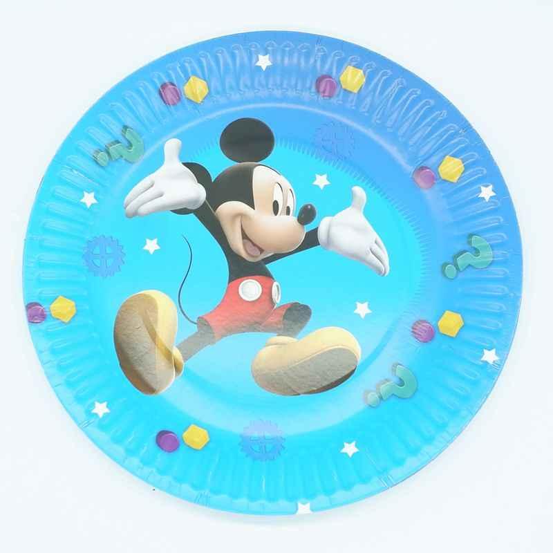 Mickey Mouse Conjunto Crianças Festa de Aniversário Decoração Fontes Do Partido Copo de Papel Guardanapo Placa Da Bandeira/Bandeira Chapéu de Palha Doces/ caixa de pipoca