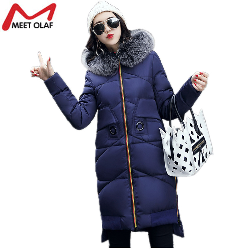 Plus Size Women Winter Coats Thick  Long Jackets Hooded 2017 Female Cotton Padded Parkas Wadded Snow Ladies Coat Outwear Y1003