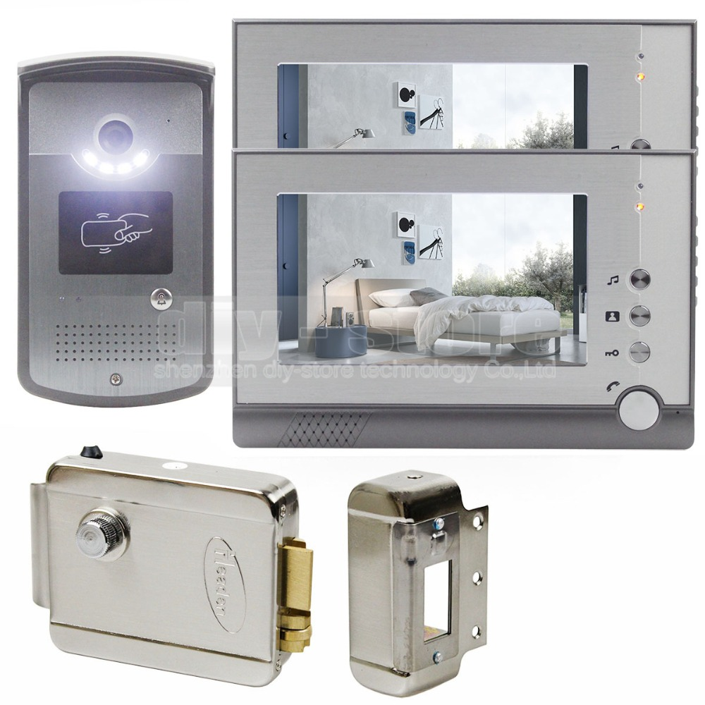 DIYSECUR New Electric Lock 7 inch LCD Display Video Door Phone Visual Intercom Doorbell RFID LED Night Vision 1 Camera 2 Monitor diysecur 1024 x 600 7 inch hd tft lcd monitor video door phone video intercom doorbell 300000 pixels night vision camera rfid