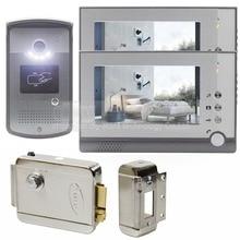 DIYSECUR New Electric Lock 7 inch LCD Display Video Door Phone Visual Intercom Doorbell RFID LED Night Vision 1 Camera 2 Monitor