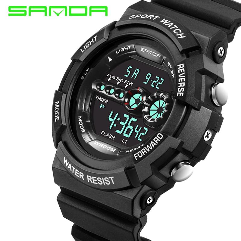 Mens real rushed relojes 2018 moda Sanda reloj Hombres G estilo impermeable  deportes militar choque lujo analógico digital en Relojes digitales de  Relojes ... 010b38d79c04
