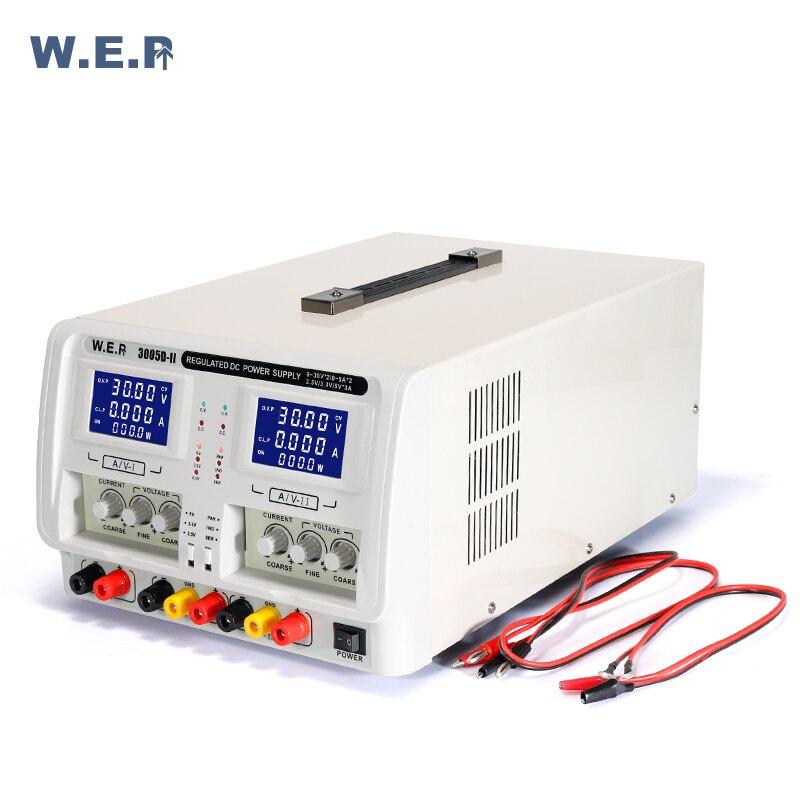 WEP 3005D-II Регулируемый двойной источник питания постоянного тока 0-В 30 в 0-5A Регулируемое напряжение